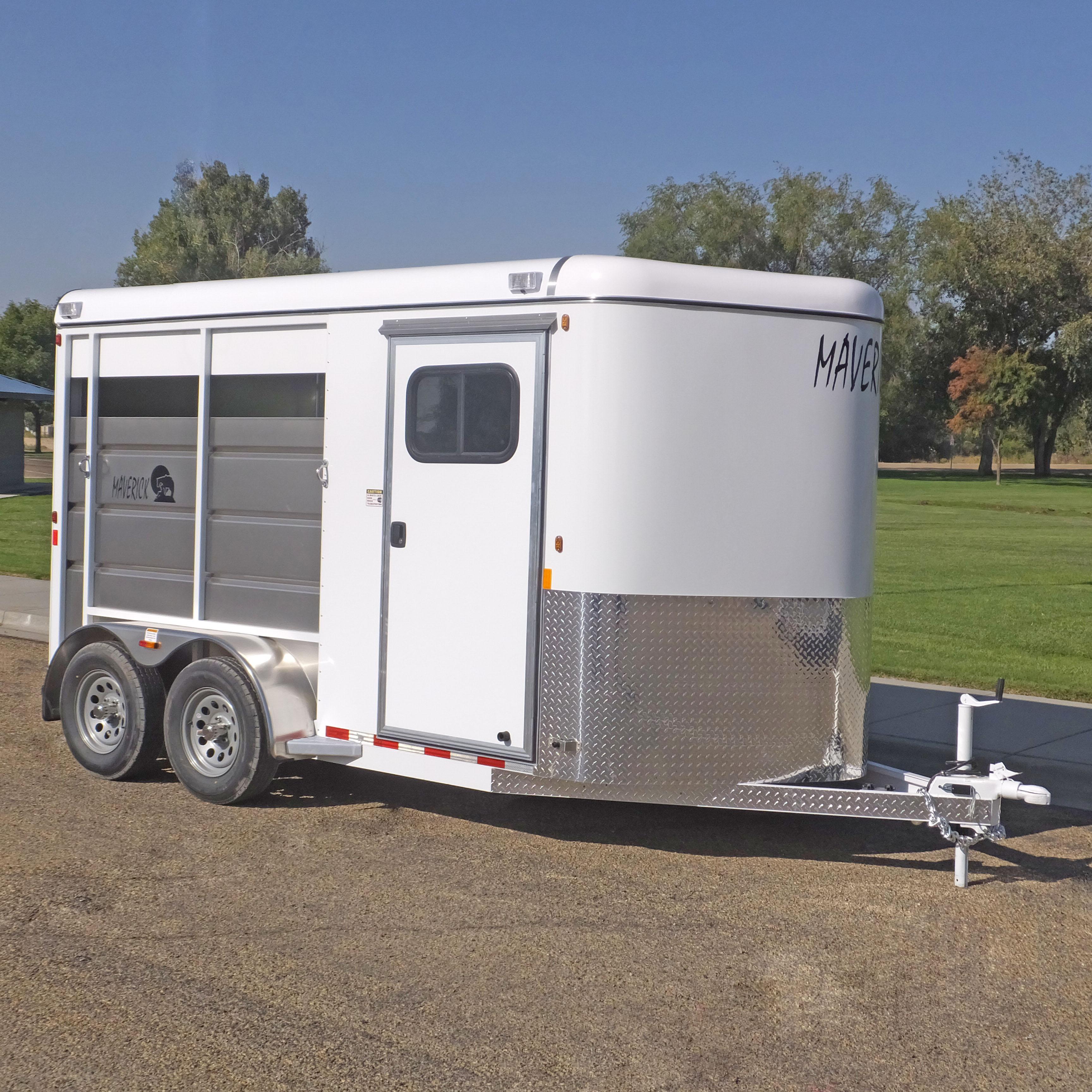 Maverick Highside (HS) Steel 2 Horse Trailer - Standard Rv style tack door w/screened window.